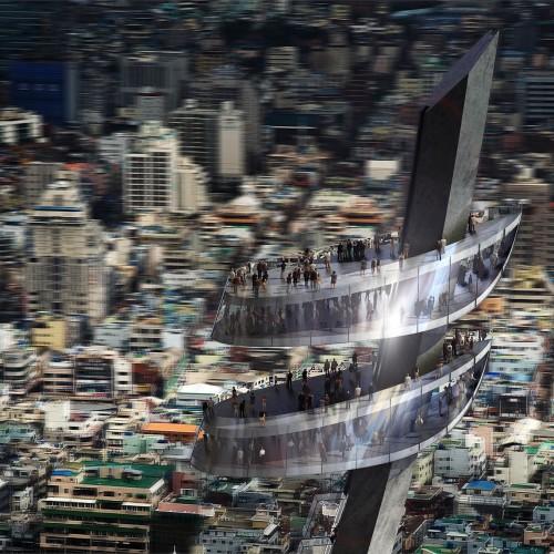 Busan Tower - Vue hélicoptère